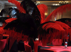 Red and Black Feather Centerpiece