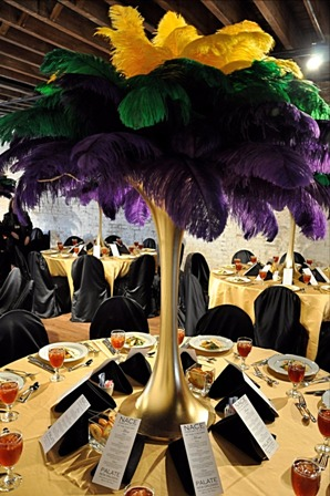 Gold and purple feather centerpiece