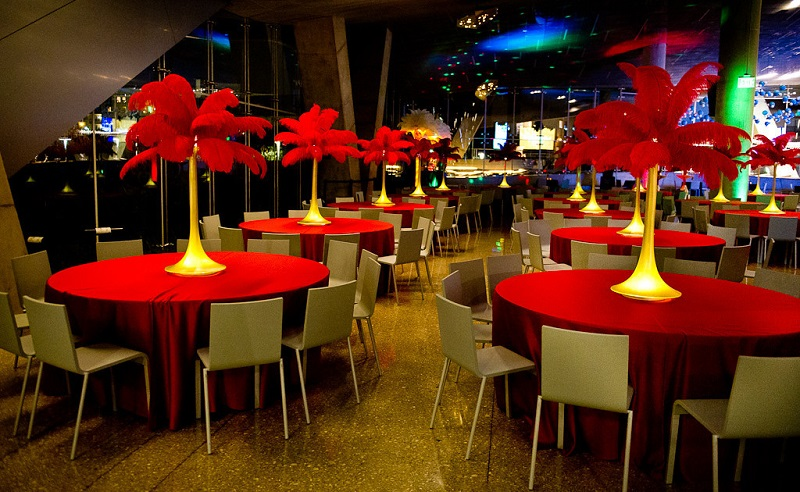 Gold and Red Feather Centerpieces
