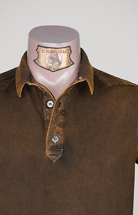 The Classic Button Collar Shirt - in Leather Brown