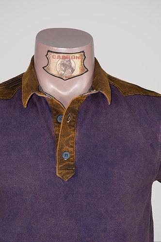 CARBON Falcon Button Collar Shirt - Cedar Purple and Leather Brown