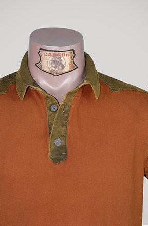 CARBON Falcon Button Collar Shirt - Brick Orange and Khaki