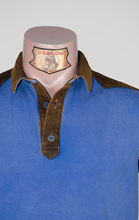 The Classic Button Collar Shirt - in Cobalt Blue Leather Brown Emblem