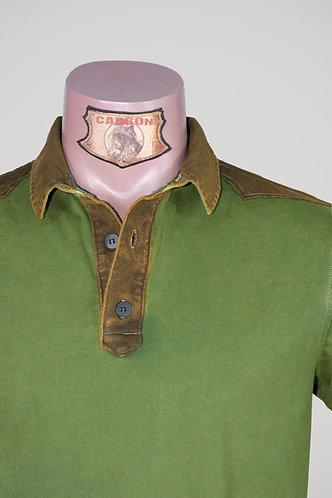 CARBON Falcon Button Collar Shirt - Moss Green and Dark Khaki