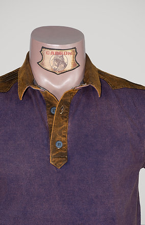 The Classic Button Collar Shirt - in Stone Purple Leather Brown Emblem