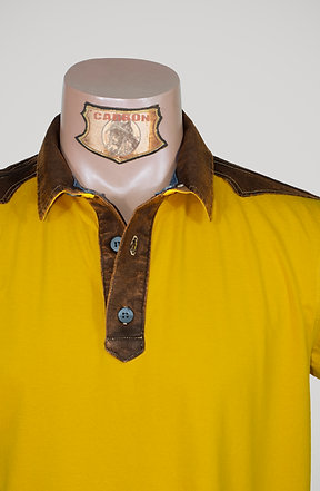 CARBON Falcon Button Collar Shirt - Canary Yellow and Leather Brown