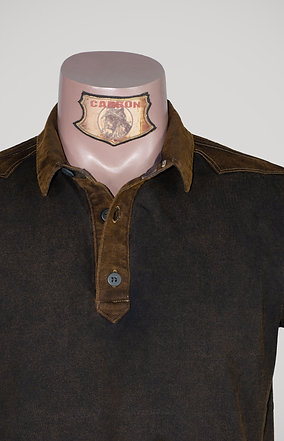 The Classic Button Collar Shirt - in Coke Leather Brown Emblem