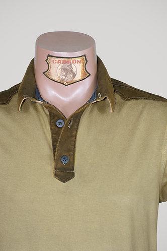 CARBON Falcon Button Collar Shirt - Beige and Dark Khaki