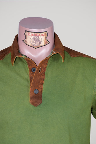 CARBON Falcon Button Collar Shirt - Moss Green and Dark Amber