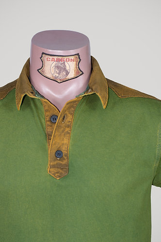 CARBON Falcon Button Collar Shirt - Moss Green and Ochre Yellow