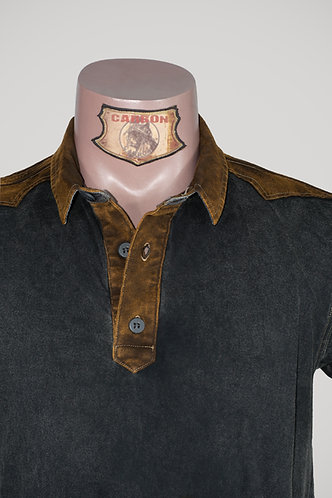 CARBON Falcon Button Collar Shirt - Ash Black and Leather Brown
