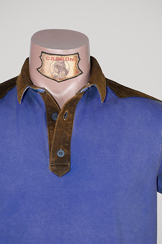 CARBON Falcon Button Collar Shirt - Cobalt Blue and Leather Brown