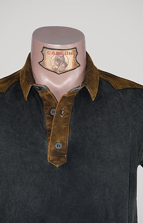 The Classic Button Collar Shirt - in Black Leather Brown Emblem