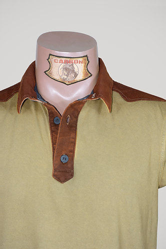 CARBON Falcon Button Collar Shirt - Beige and Dark Amber