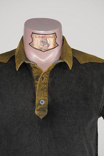 CARBON Falcon Button Collar Shirt - Ash Black and Khaki