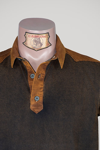 CARBON Falcon Button Collar Shirt - Umber Brown and Brick Brown