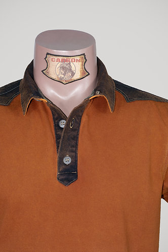 CARBON Falcon Button Collar Shirt - Brick Orange and Umber Brown