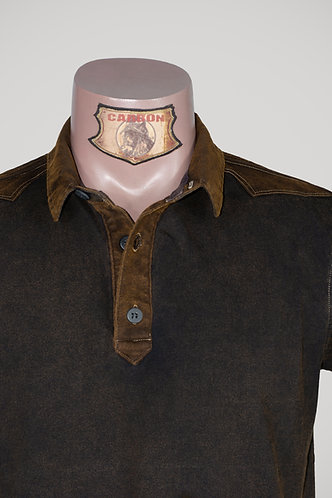 CARBON Falcon Button Collar Shirt - Umber Brown and Leather Brown