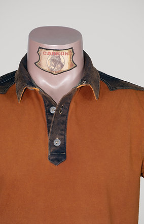 The Classic Button Collar Shirt - in Terracotta Orange Umber Emblem
