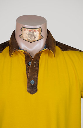The Classic Button Collar Shirt - in Yellow Leather Brown Emblem