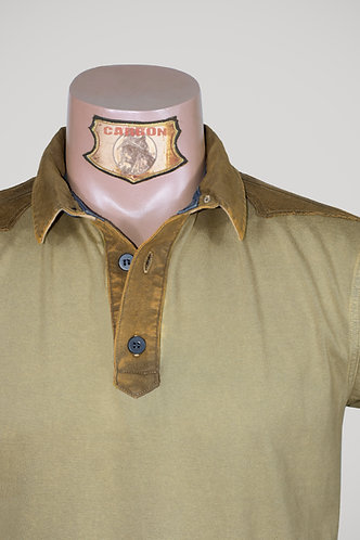 CARBON Falcon Button Collar Shirt - Beige and Ochre Yellow