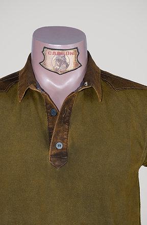 CARBON Falcon Button Collar Shirt - Khaki and Leather Brown
