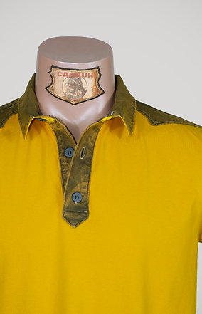 The Classic Button Collar Shirt - in Yellow Khaki Emblem