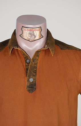 The Classic Button Collar Shirt - in Terracotta Orange Leather Brown Emblem