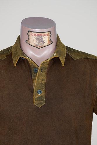 CARBON Falcon Button Collar Shirt - Leather Brown and Khaki