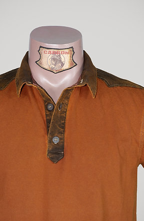CARBON Falcon Button Collar Shirt - Brick Orange and Leather Brown