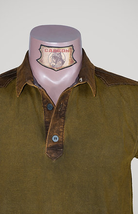 The Classic Button Collar Shirt - in Khaki Leather Brown Emblem