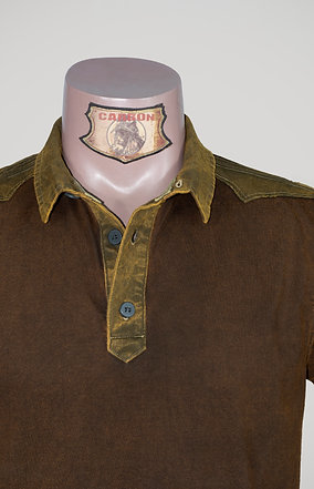 The Classic Button Collar Shirt - in Leather Brown Khaki Emblem