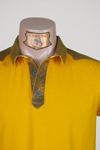 CARBON Falcon Button Collar Shirt - Canary Yellow and Khaki
