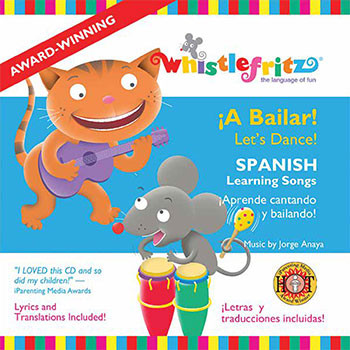 CD cover of A Bailar . A cat playing the guitar and a mouse drumming. Children's spanish music