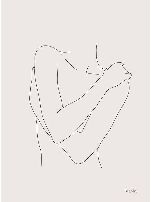 איור של אישה מחבקת את גופה העירום בקווי מתאר עדינים