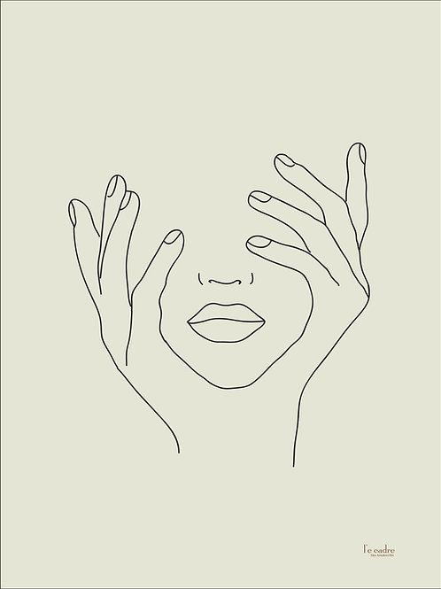יצירה מנימלסיטית מהממת של פני אישה בקווי מתאר עדינים מחזיקה את פנייה