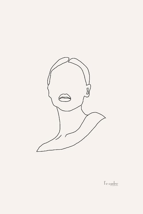 יצירה אלגנטית ומדויקת בקווי מתאר של פני אישה