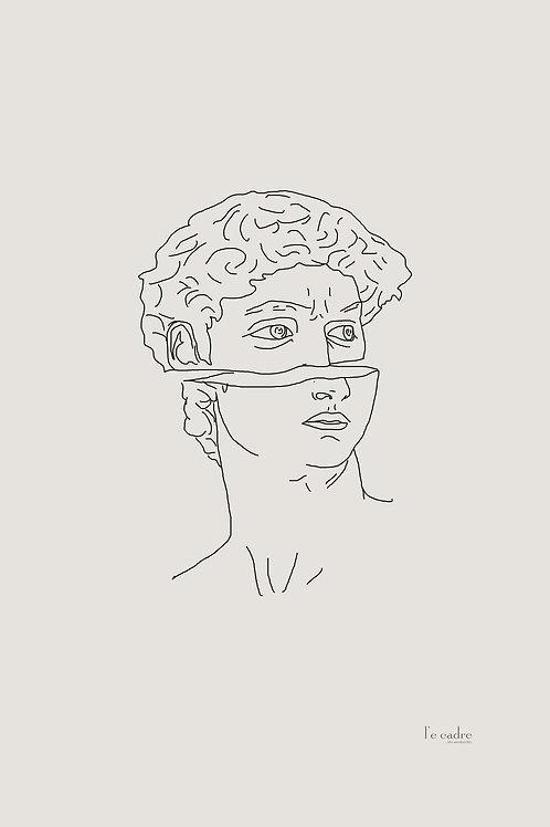 יצירה בקווי מתאר של פסל דוד המוכר. באיור מודרני מנימליסטי