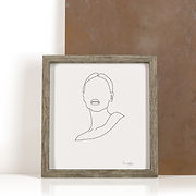 הדפס ראש של אשה בקווי מתאר
