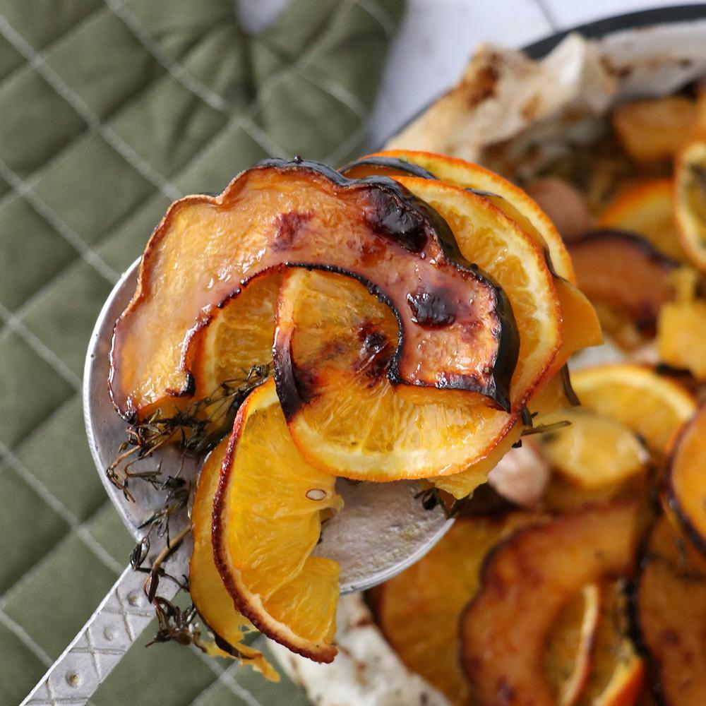 דלעת ותפוז צלויים בתנור