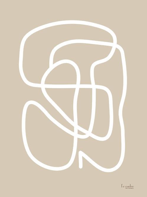 יצירה מקולקציית אבסטרקט בקו עבה בצבע לבן על רקע ניוד