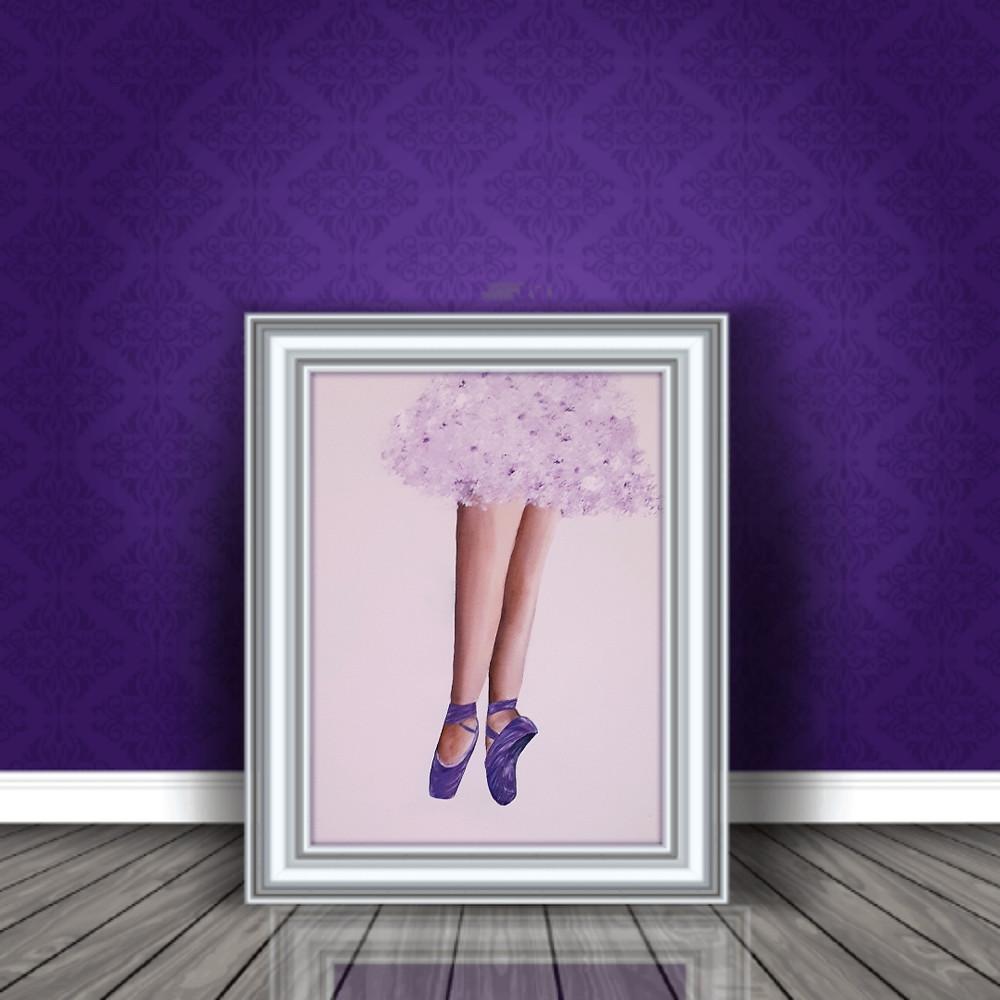 ציור והדמיה של רגלי בלרינה בנעלי באלט סגולות