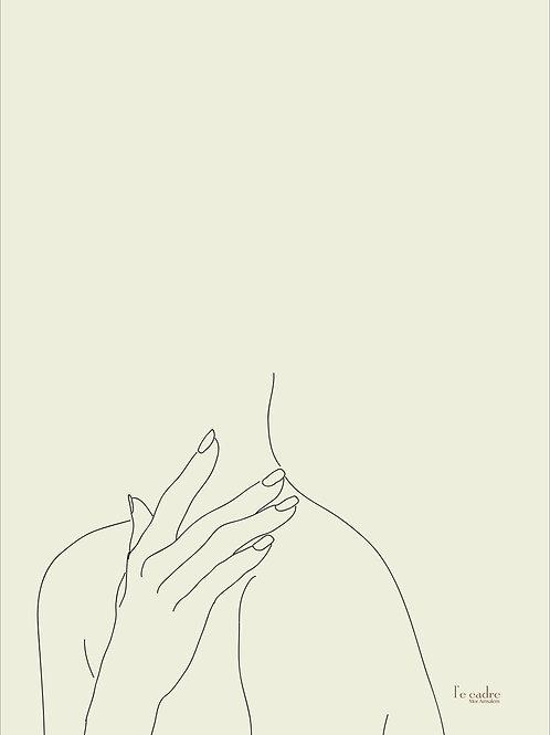 יצירה בקווי מתאר עדינים של אישה שמה את ידה על צווארה