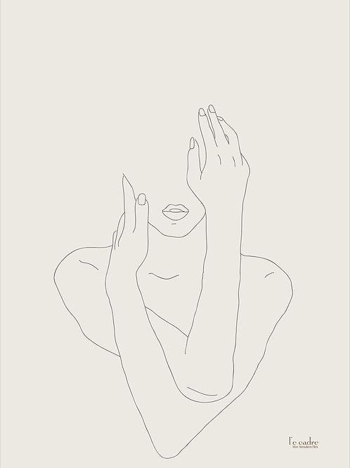 יצירה אומנות מנימליסטית בקווי מתאר עדינים של אישה
