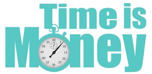 שעון עצר על כיתוב - זמן שווה כסף