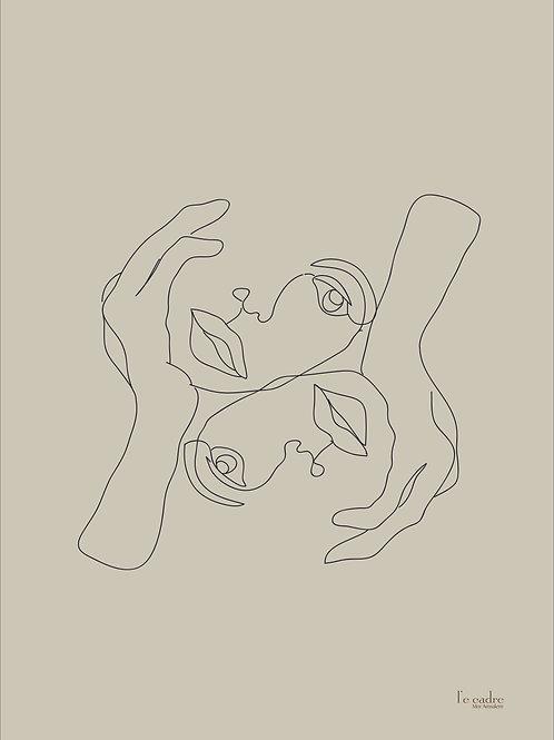 יצירה בקווי מתר עדינים שני פרצופים היוצרים יין ואינג