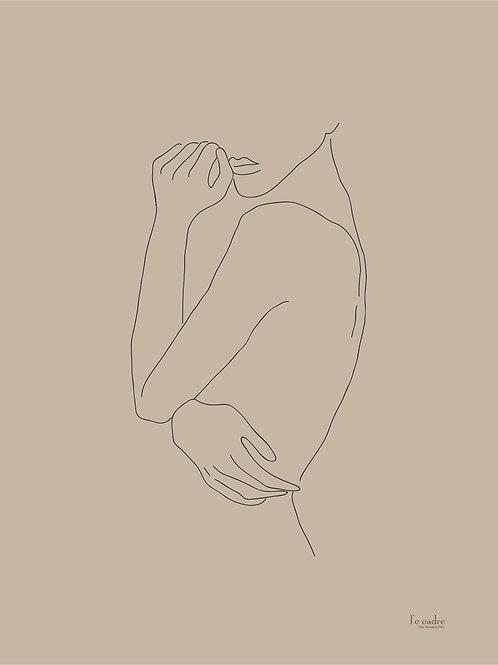 יצירה בקווי מתאר של גוף אישה בפרופיל