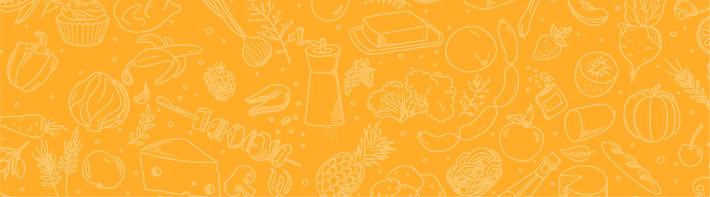 טפט כתום עם איורים של כלי אוכל ומוצרי מזון