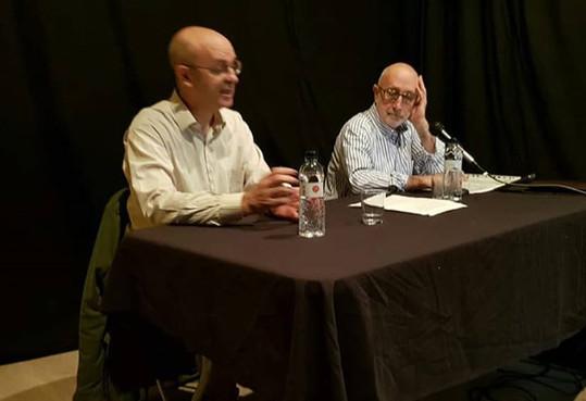 El Luis Roca i el Ramon Sanchez en la seva intervenció de la temporada passada: 'L'actualitat dels exercicis espirituals'.