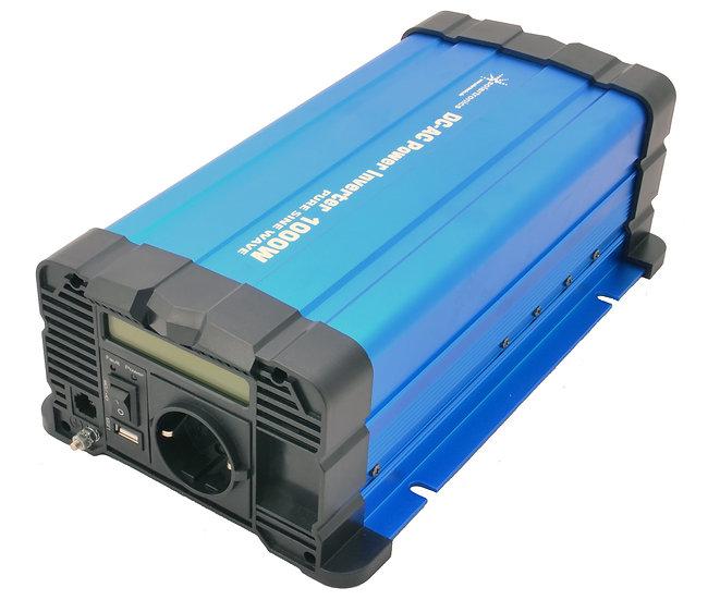 Spannungswandler FS1000D 12V 1000/2000 Watt reiner Sinus BLAU m. Display